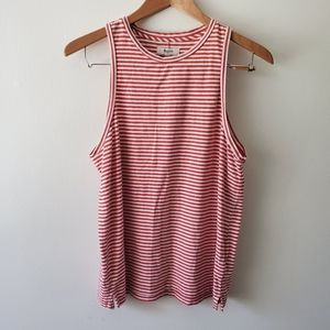 Madewell Combed Cotton Red + White Striped Tank